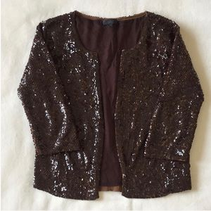 J. Crew Collection Brown Sequin Cardigan Sweater